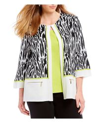 Ming Wang - Black Plus Size Jewel Neck Animal Print Jacket - Lyst