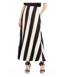 Belle By Badgley Mischka - Black Sienna Striped Maxi Skirt - Lyst