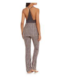 Betsey Johnson - Pink Striped Cozy Jersey & Lace Racerback Pajamas - Lyst