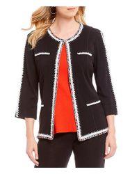 Misook - Black Jewel Neck Crochet Trim Jacket - Lyst