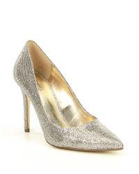 MICHAEL Michael Kors - Claire Diamond Metallic Mesh Dress Pumps - Lyst