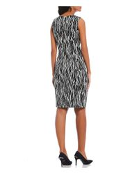 Calvin Klein Black Sleeveless Texture Pattern Sheath Dress