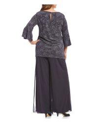 Alex Evenings - Multicolor Plus Bell-sleeve Jacquard Knit 2-piece Pant Set - Lyst