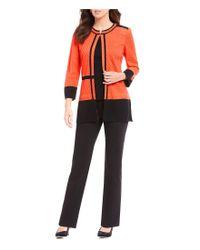 Ming Wang - Multicolor Jewel Neck Texture Block Jacket - Lyst