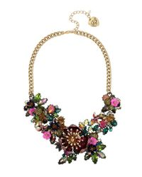 Betsey Johnson - Green Flower Statement Necklace - Lyst