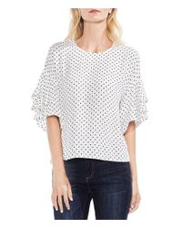 Vince Camuto - Multicolor Tiered Ruffle Sleeve Polka Dot Blouse - Lyst