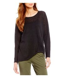 Eileen Fisher - Black Jewel Neck Twist Front Top - Lyst