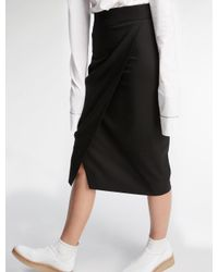 DKNY - Black Wrap Front Pencil Skirt - Lyst