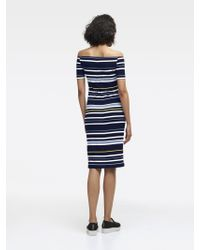 DKNY - Blue Striped Off-the-shoulder Dress - Lyst