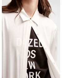 DKNY - White Stretch Silk Button Down - Lyst