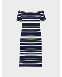 DKNY - Blue Striped Off-the-shoulder Dress - Lyst