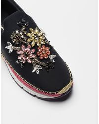 Dolce & Gabbana - Black Slip-on Sneakers With Jeweled Appliqués And Double Bottom - Lyst
