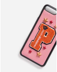 Dolce & Gabbana | Pink Iphone 7 Plus Cover With Leather Detail And Patch | Lyst