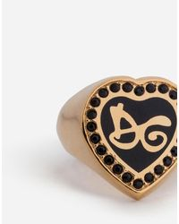 Dolce & Gabbana - Metallic Ring With Dg Lettering And Crystals - Lyst