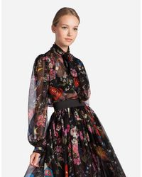 Dolce & Gabbana - Black Printed Silk Blouse - Lyst
