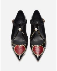 Dolce & Gabbana - Black Printed Leather Ballet Flats With Appliqué - Lyst