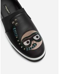 Dolce & Gabbana Black Calfskin Nappa Roma Slip-on Sneakers With Diver-style Patches Of The Designers for men