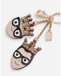 Dolce & Gabbana - Gray Keychain With A Charm Of The Designers for Men - Lyst