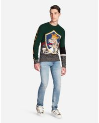 Dolce & Gabbana - Green Wool Sweater With Embroidery for Men - Lyst