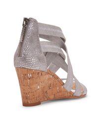 Donald J Pliner | Tumbled Metallic Brush Off And Vintage Lizard Print Leather Wedge Sandal | Lyst