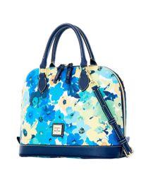 Dooney & Bourke Blue Somerset Watercolor Zip Zip Satchel