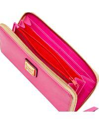 Dooney & Bourke - Pink Emerson Large Zip Around Wristlet - Lyst