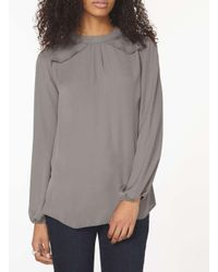 Dorothy Perkins - Gray Charcoal Long Sleeve Frill Top - Lyst
