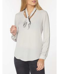 Dorothy Perkins - Metallic Silver Pussybow Blouse - Lyst