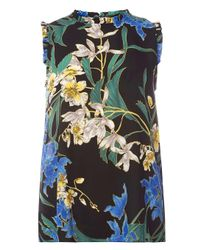 Dorothy Perkins - Black Floral Print Sleeveless Top - Lyst