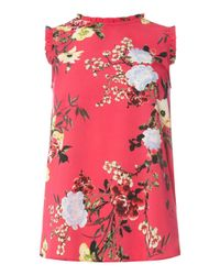 Dorothy Perkins | Pink Floral Sleeveless Top | Lyst