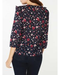 Dorothy Perkins - Blue Multi Coloured Frill 3/4 Sleeve Ditsy Top - Lyst