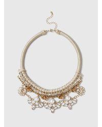 Dorothy Perkins - Metallic Flower And Crystal Collar - Lyst