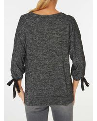 Dorothy Perkins | Gray Charcoal Tie Sleeve Top | Lyst
