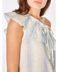 Dorothy Perkins - Vero Moda Blue And White Multi Striped Ruffle Blouse - Lyst