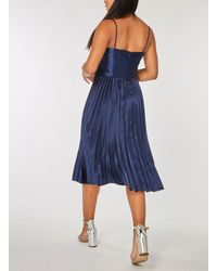 Dorothy Perkins - Blue Luxe Navy Pleated Camisole Midi Dress - Lyst