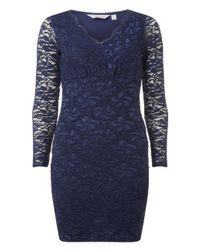 Dorothy Perkins - Blue Petite Navy Glitter Bodycon Dress - Lyst