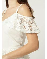 Dorothy Perkins - White Lace Mix Bardot Pencil Dress - Lyst