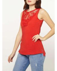Dorothy Perkins - Red Lace Yoke Shell Top - Lyst