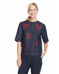 Draper James | Blue Floral Embroidered Sweatshirt | Lyst