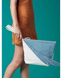 Diane von Furstenberg - Blue Origami Fringe Wristlet - Lyst