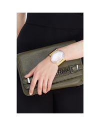 Diane von Furstenberg - Metallic Cuff Bracelet With Sliced Agate - Lyst