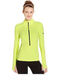 Nike | Green Pro Hyperwarm Half-zip Dri-fit Long-sleeve Shirt | Lyst