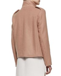 See By Chloé - Pink Short Wool Coat W/ Rose Golden Buttons - Lyst