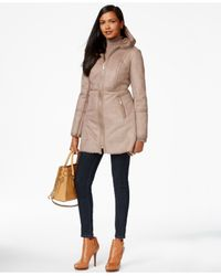Michael Kors | Brown Michael Faux-leather-trim Faux-shearling Coat | Lyst
