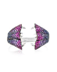 Bernard Delettrez | Metallic Carnivorous Flower W/sapphires And Amethysts Gold Pave Ring | Lyst