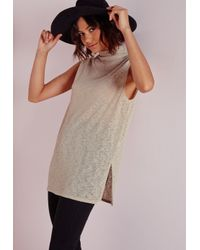 Missguided - Gray High Neck Longline Vest Stone - Lyst