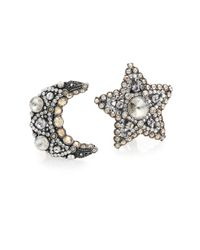 Lanvin | Metallic Crystal Star & Moon Asymmetrical Clip-on Button Earrings | Lyst
