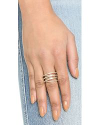 Michael Kors - Metallic Pave Crisscross Ring - Gold/clear - Lyst