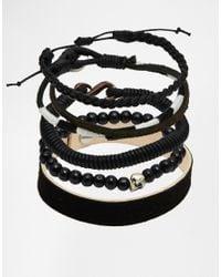 ASOS | Leather Bracelet Pack In Black for Men | Lyst