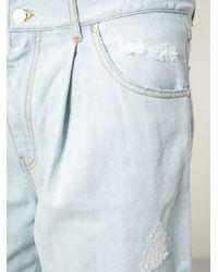 MSGM - Blue Ripped Denim Long Shorts for Men - Lyst